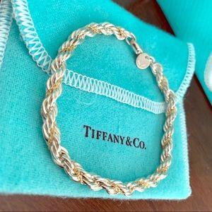 Tiffany & Co. Strlng Slvr &18k Gold Rope Bracelet